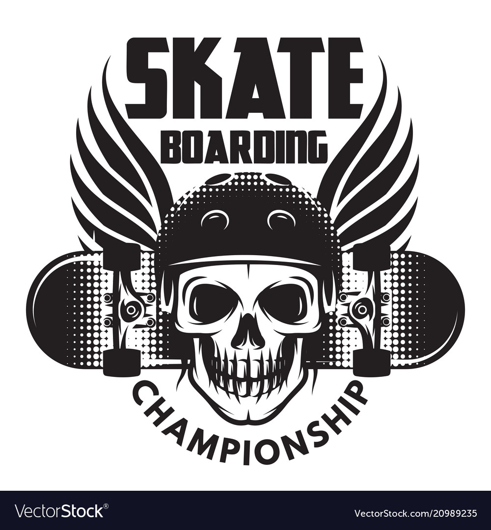 Emblem for skateboarding with skull wings and