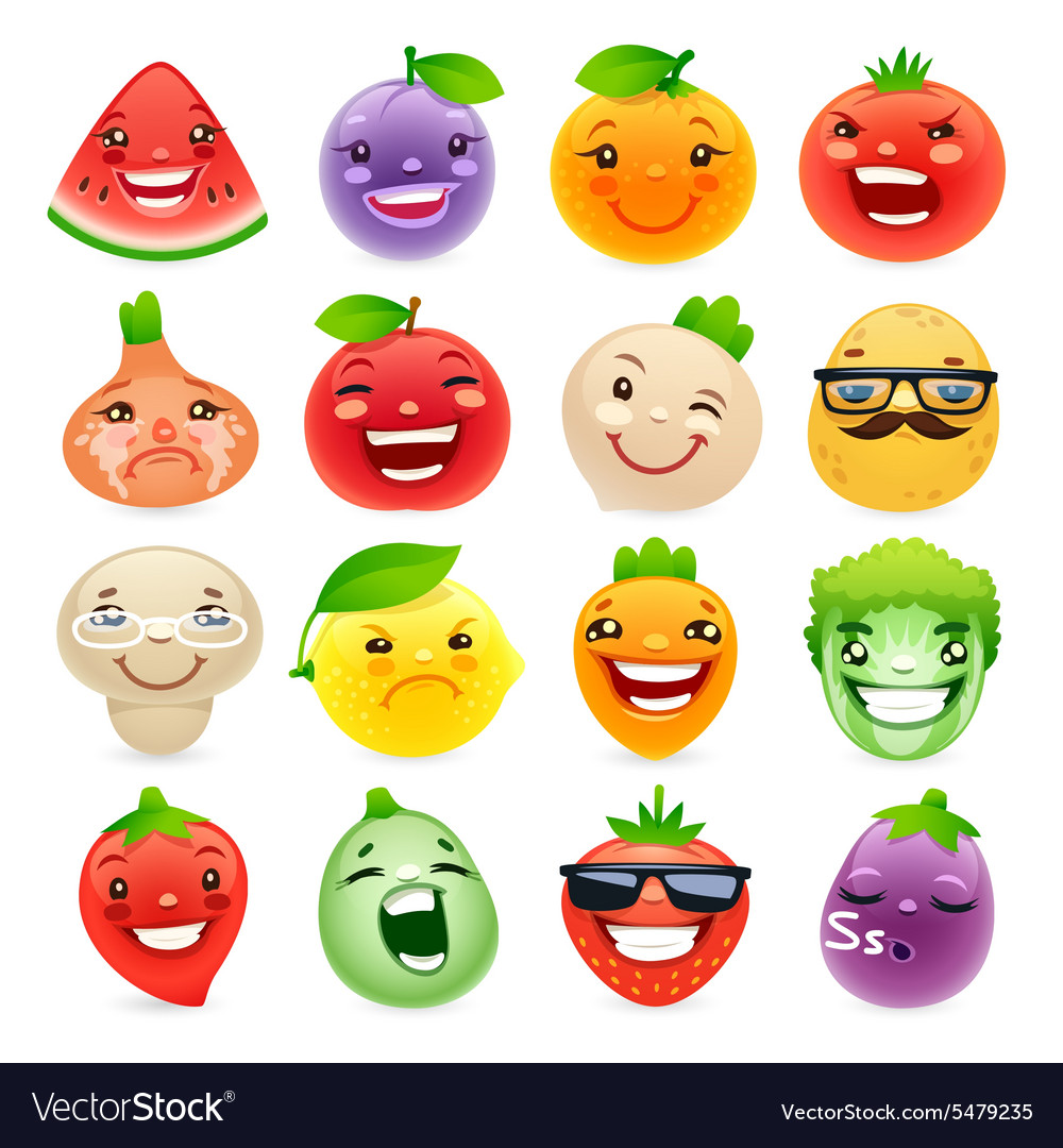 Funny Cartoon Fruits and Vegetables with Different