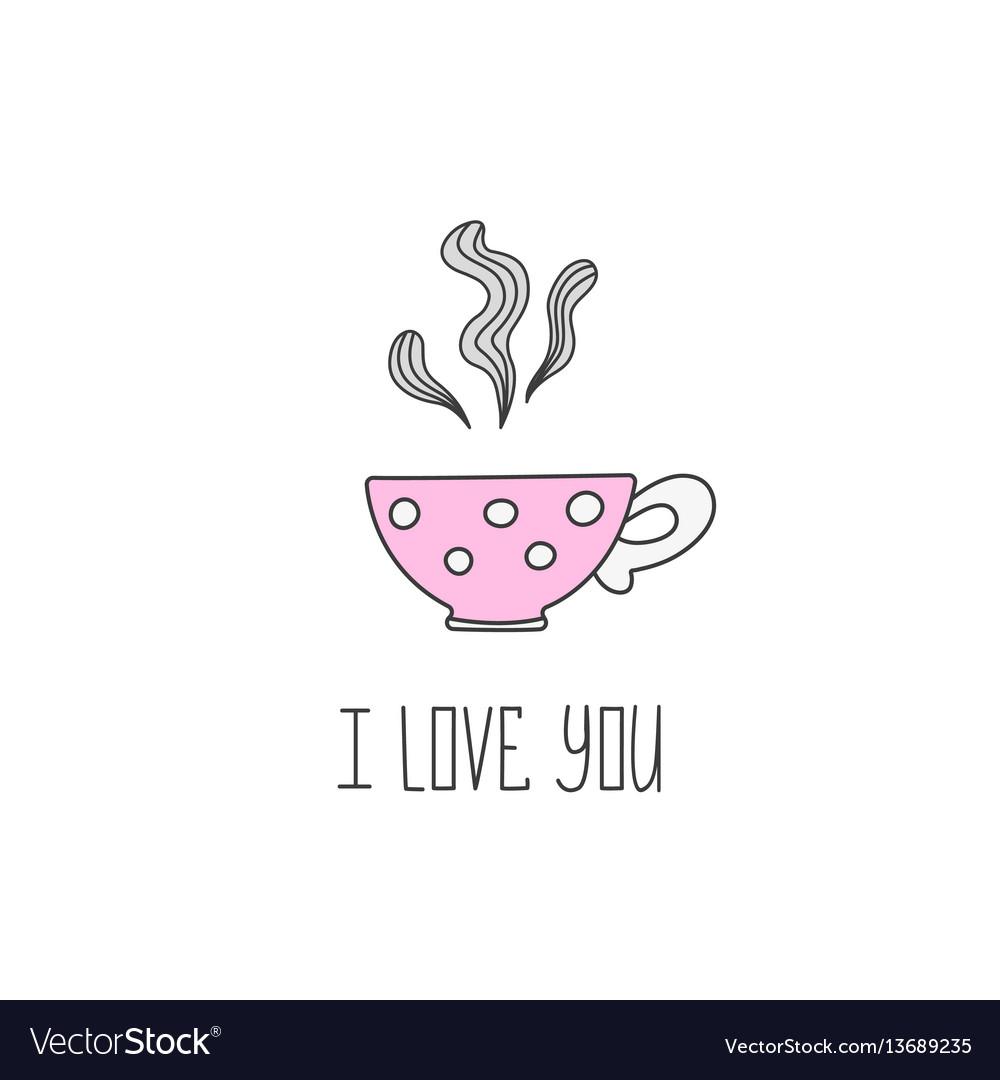 Hand drawn of polka dot tea cup with vector image