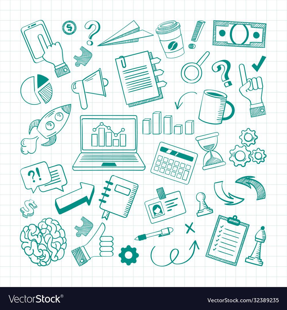 Handdrawn business elements sketch set growth