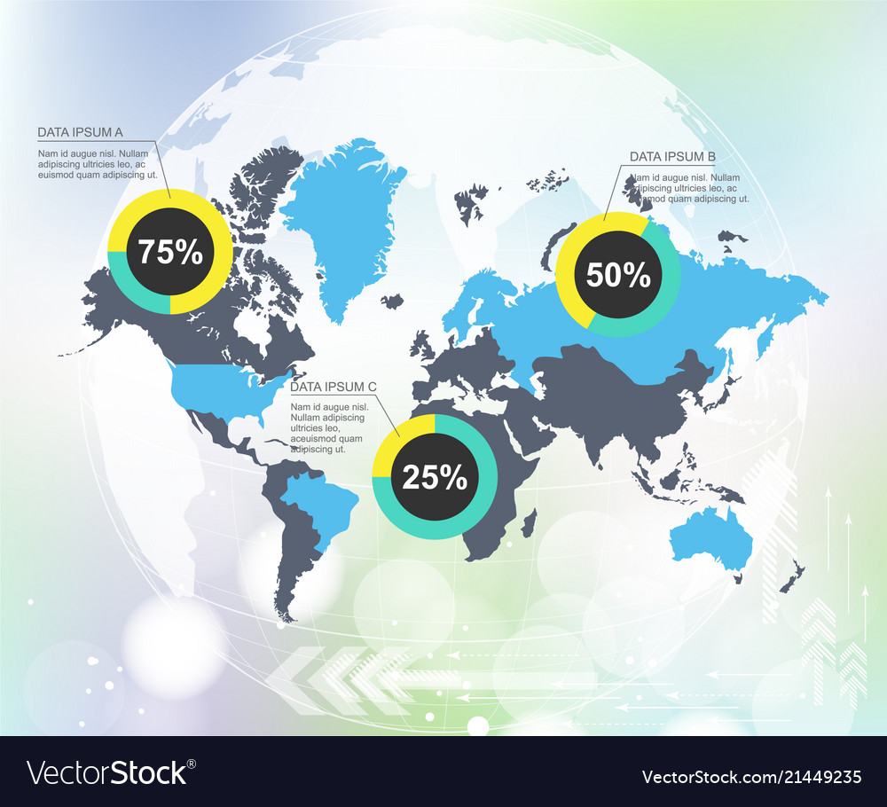 Modern world map infographic with abstract world