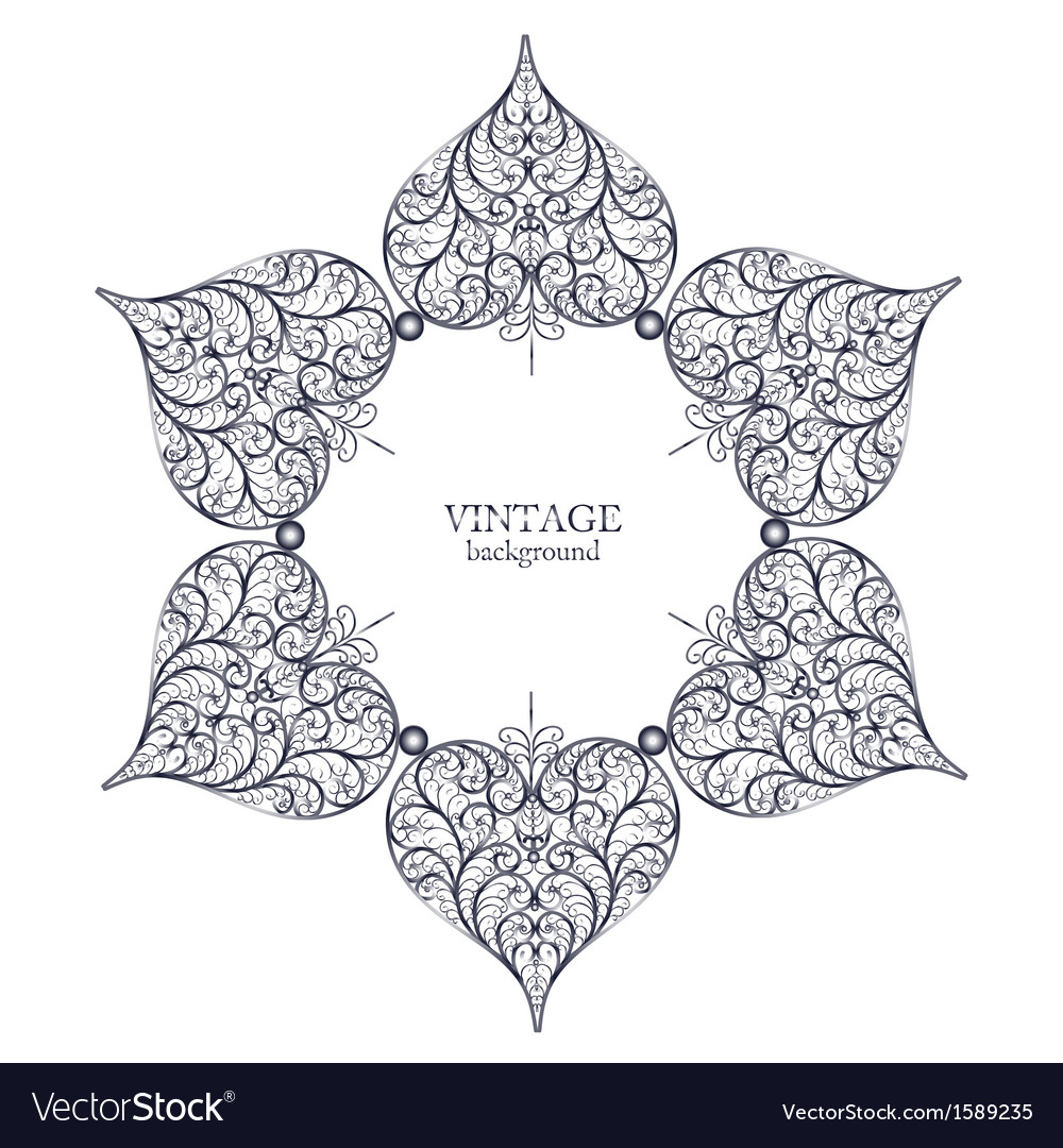 Ornamental round lace circle ornament vector image