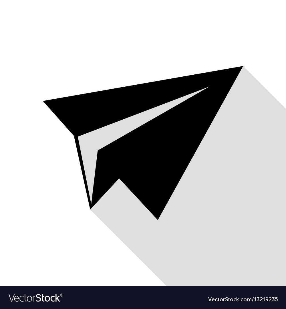 Paper airplane sign black icon with flat style