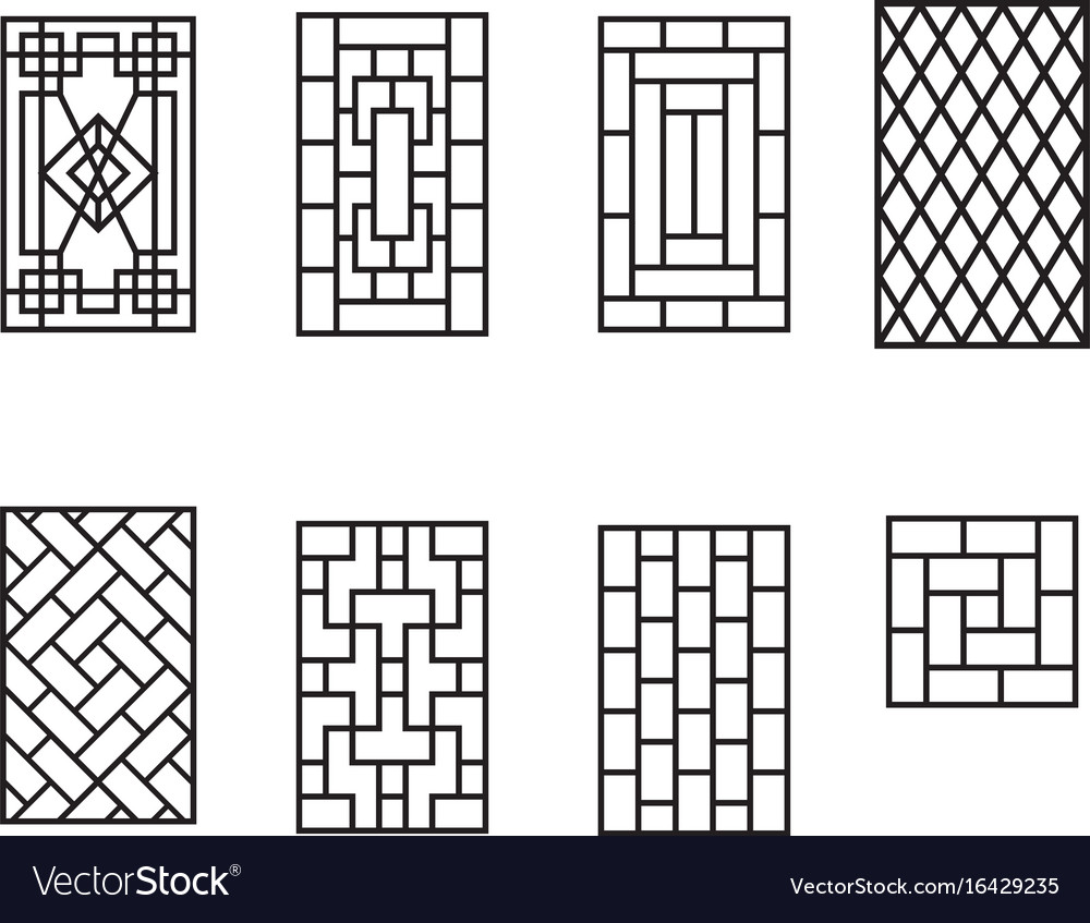 Set of chinese pattern window frame Royalty Free Vector