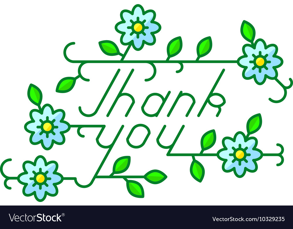 Thank you lettering composition with flowers