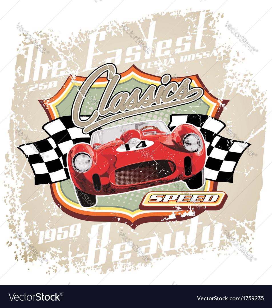 Vintage fastest car vector image
