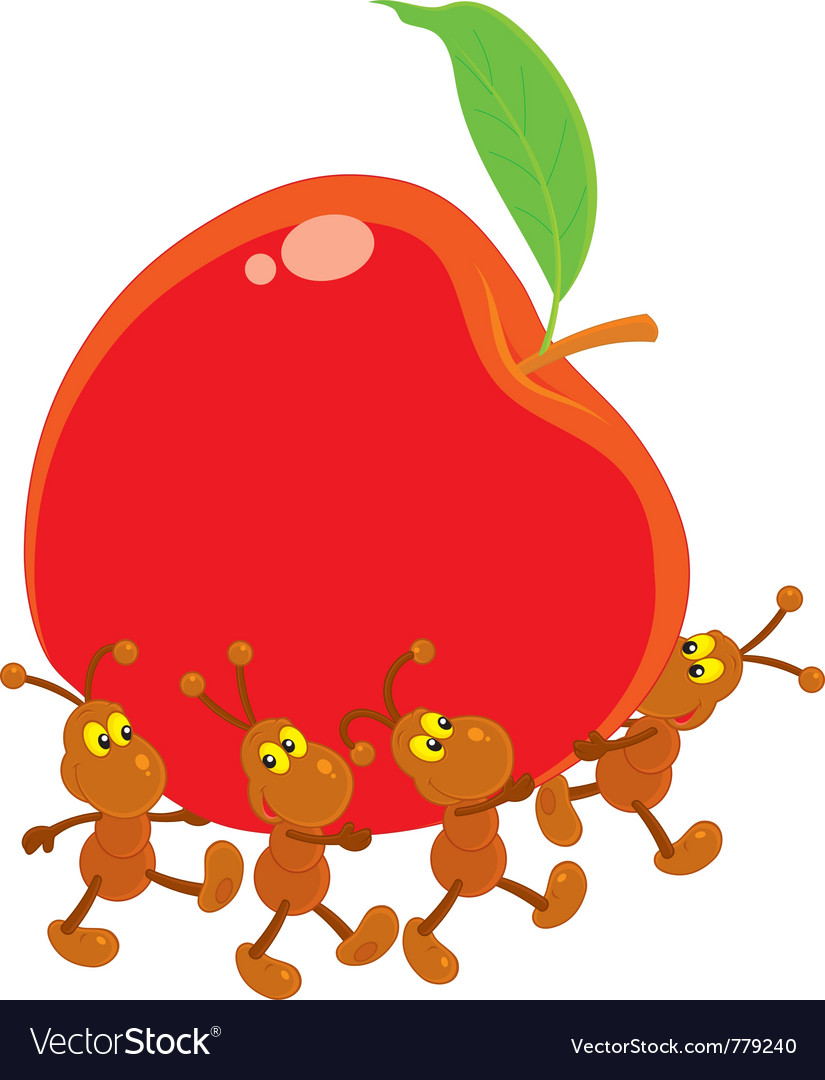 Ants Carrying A Red Apple Royalty Free Vector Image