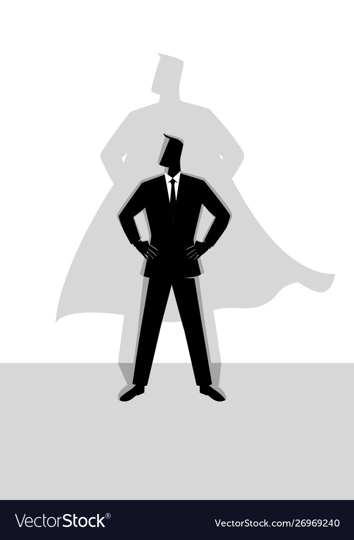 Businessman with superhero shadow