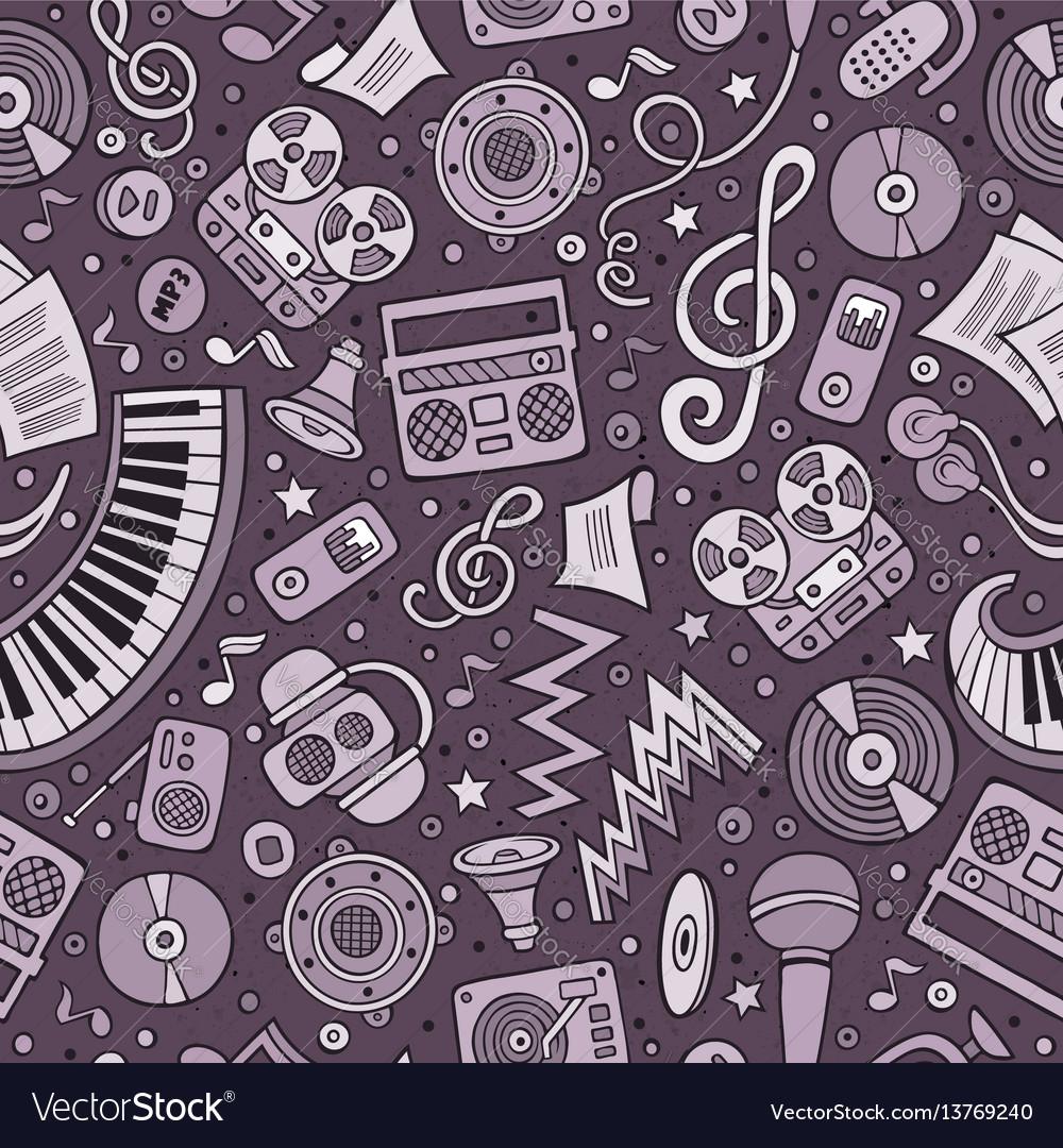 Cartoon hand-drawn musical instruments seamless