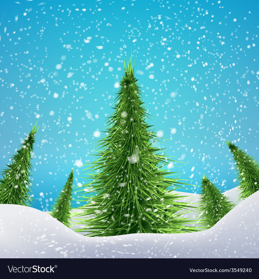 Christmas Forest with snowfall and drifts concept