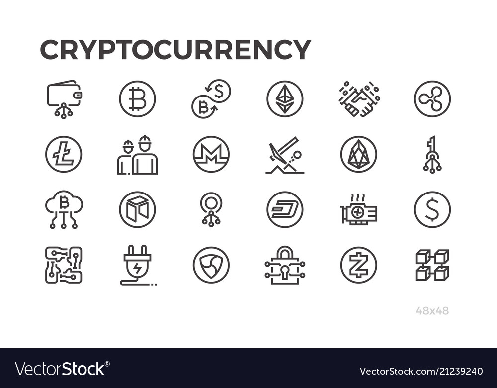 Cryptocorrency icons cryptography crypto