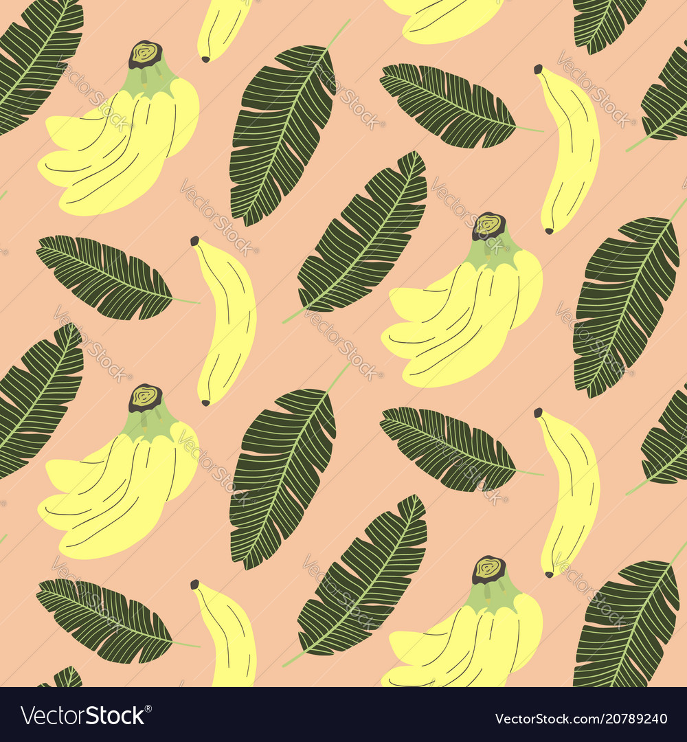 Cute seamless pattern with banana and tropical