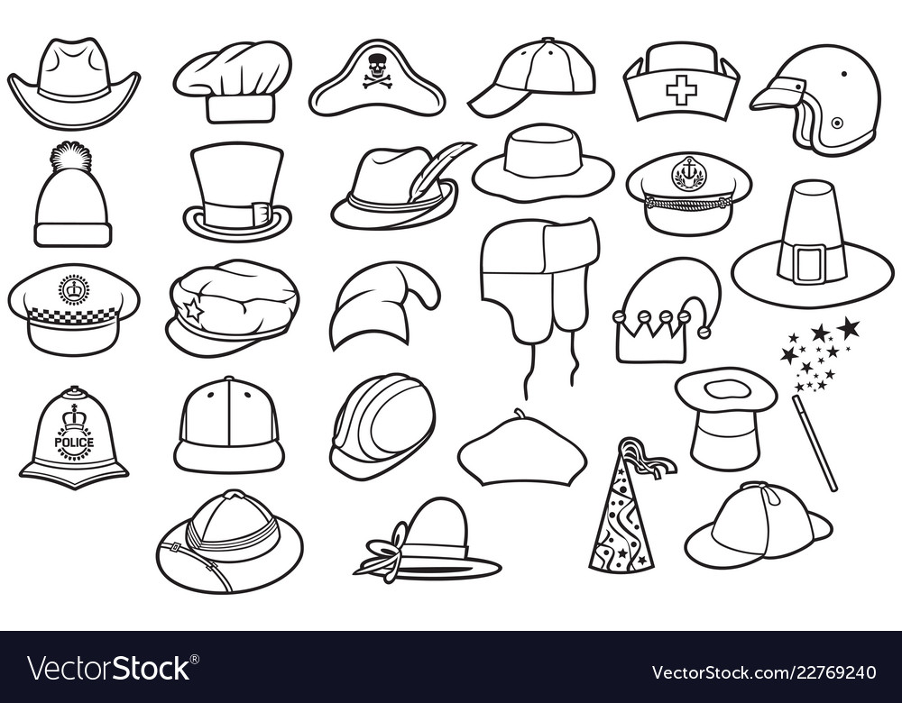 Different types of hats thin line icons set Vector Image 4b64bf1990dd