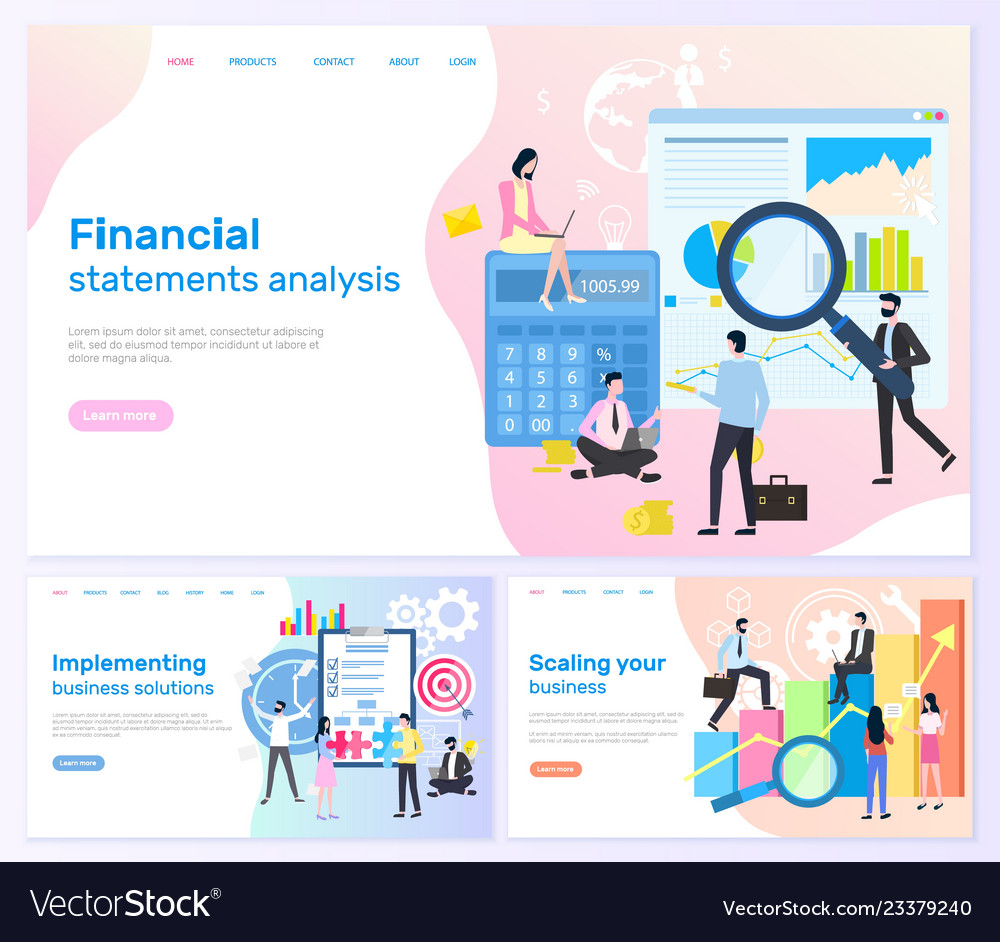 Financial statements business solutions banners