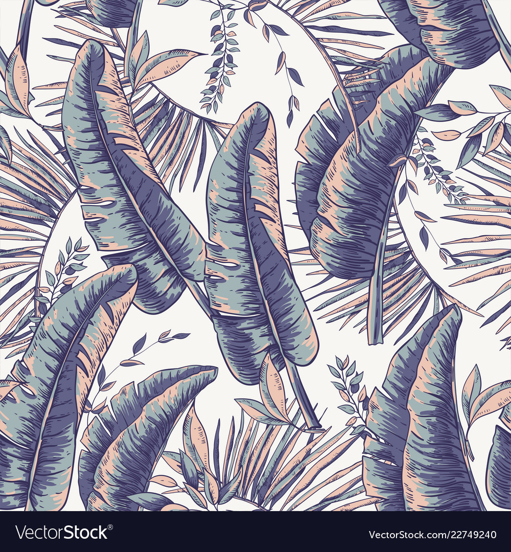 Seamless pattern of tropical leaves exotic
