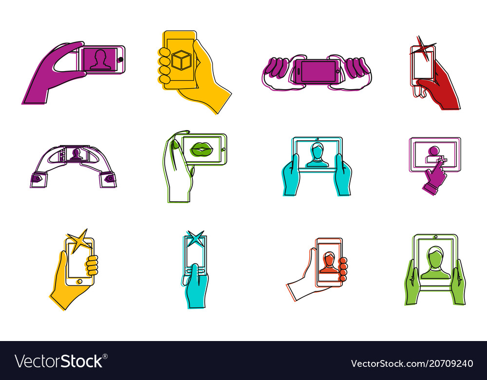 Smartphone in hand icon set color outline style