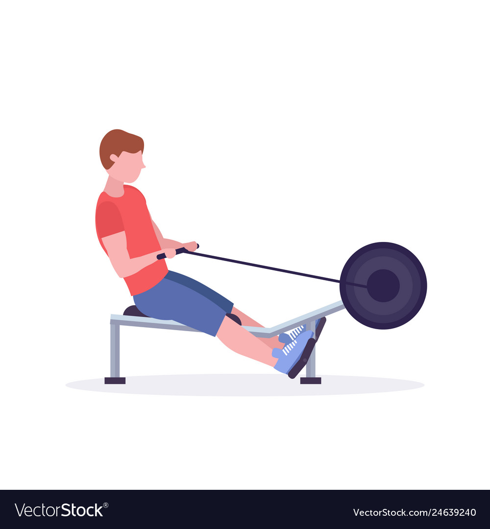 Sports man doing exercises on rowing machine guy