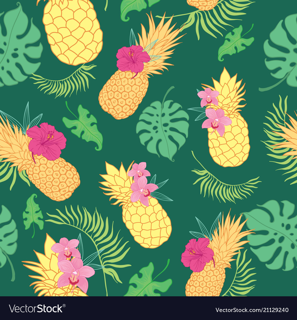 Tropical green pineapples seamless repeat pattern