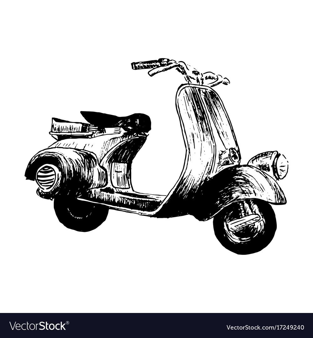 Vintage motor scooter hand