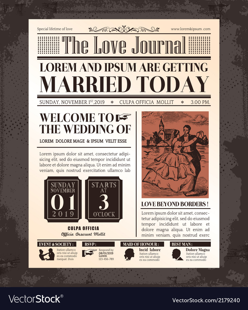 Vintage newspaper wedding invitation template Vector Image