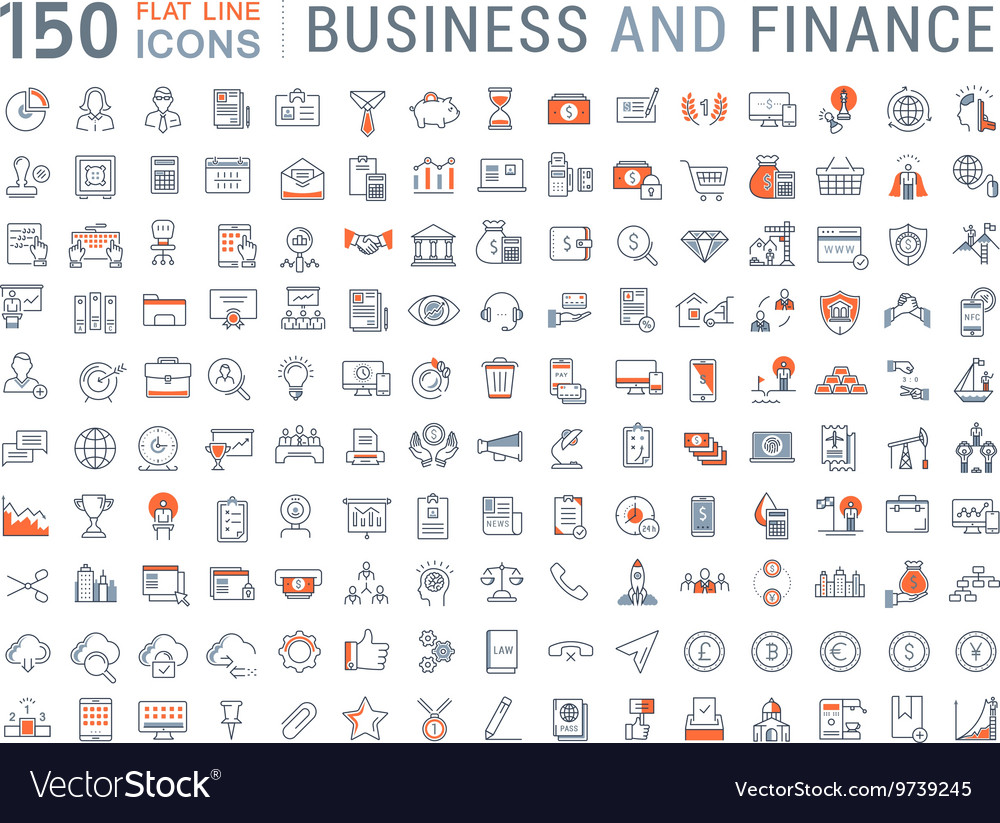 150 business and finance flat line icons vector image