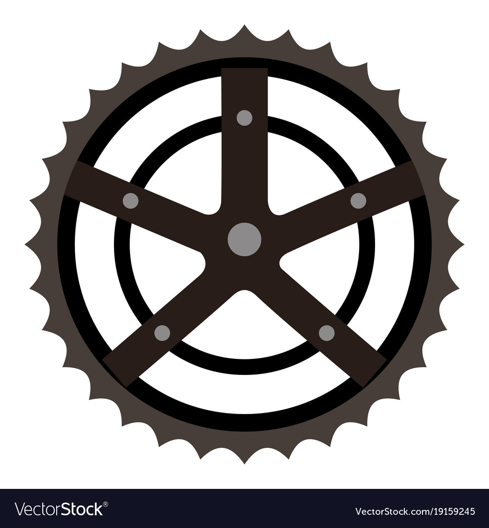 Bicycle sprocket isolated icon vector image