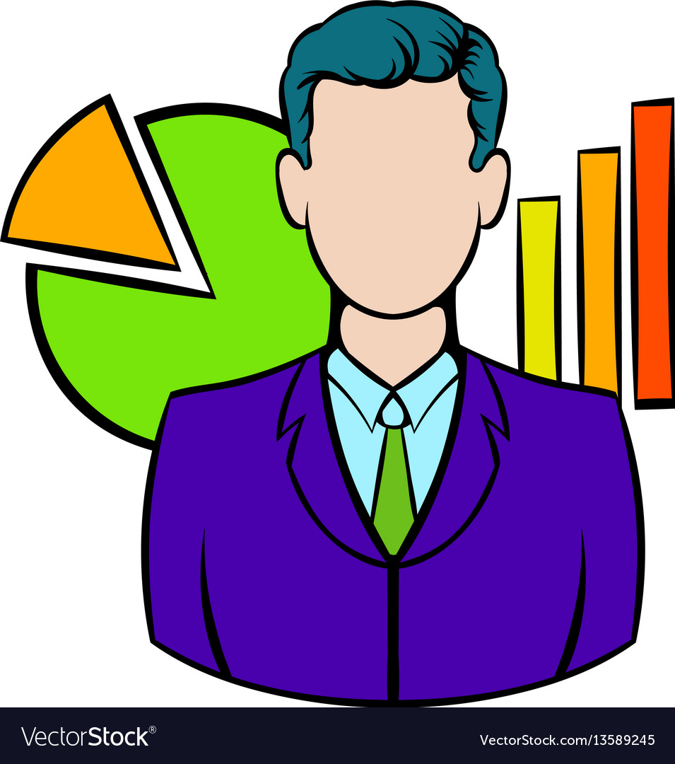 Businessman and graphs behind him icon