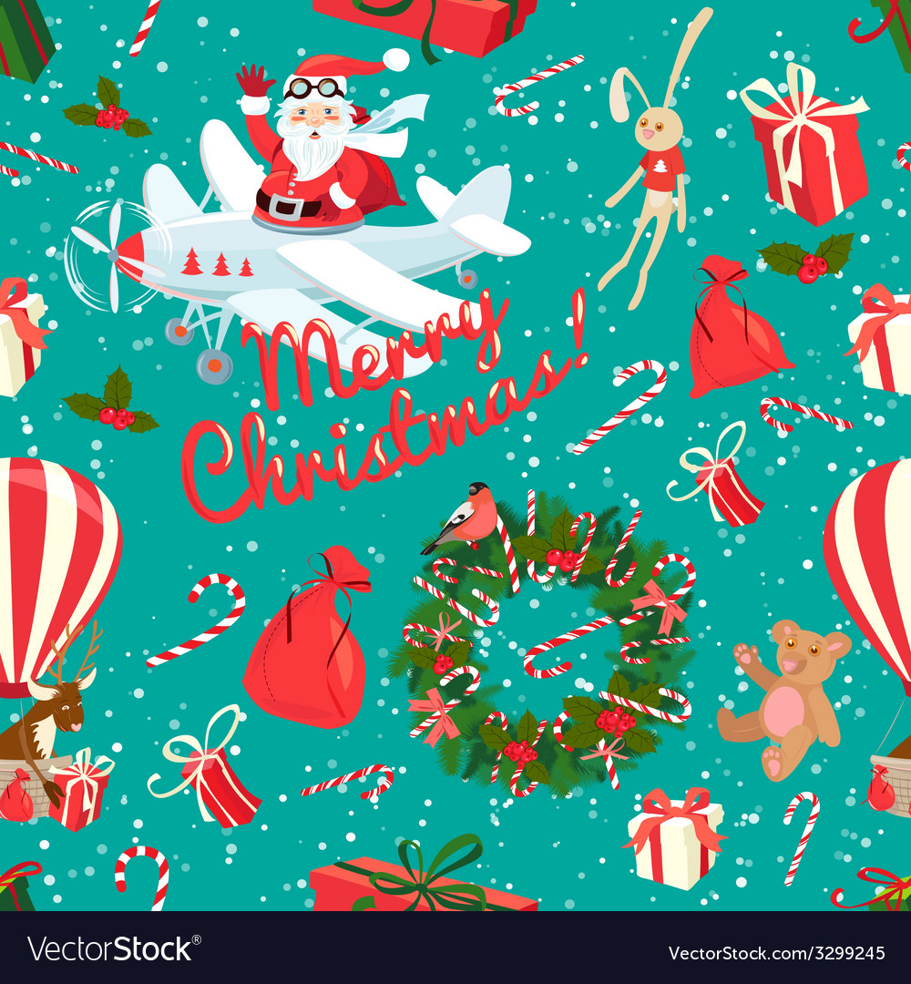 Festive Christmas and New Year seamless pattern in