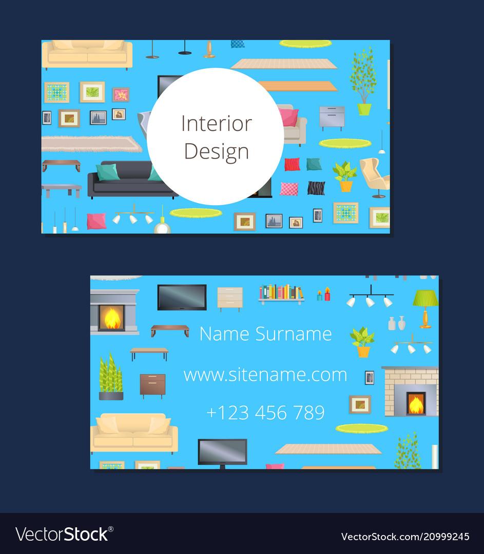 Interior design card blue