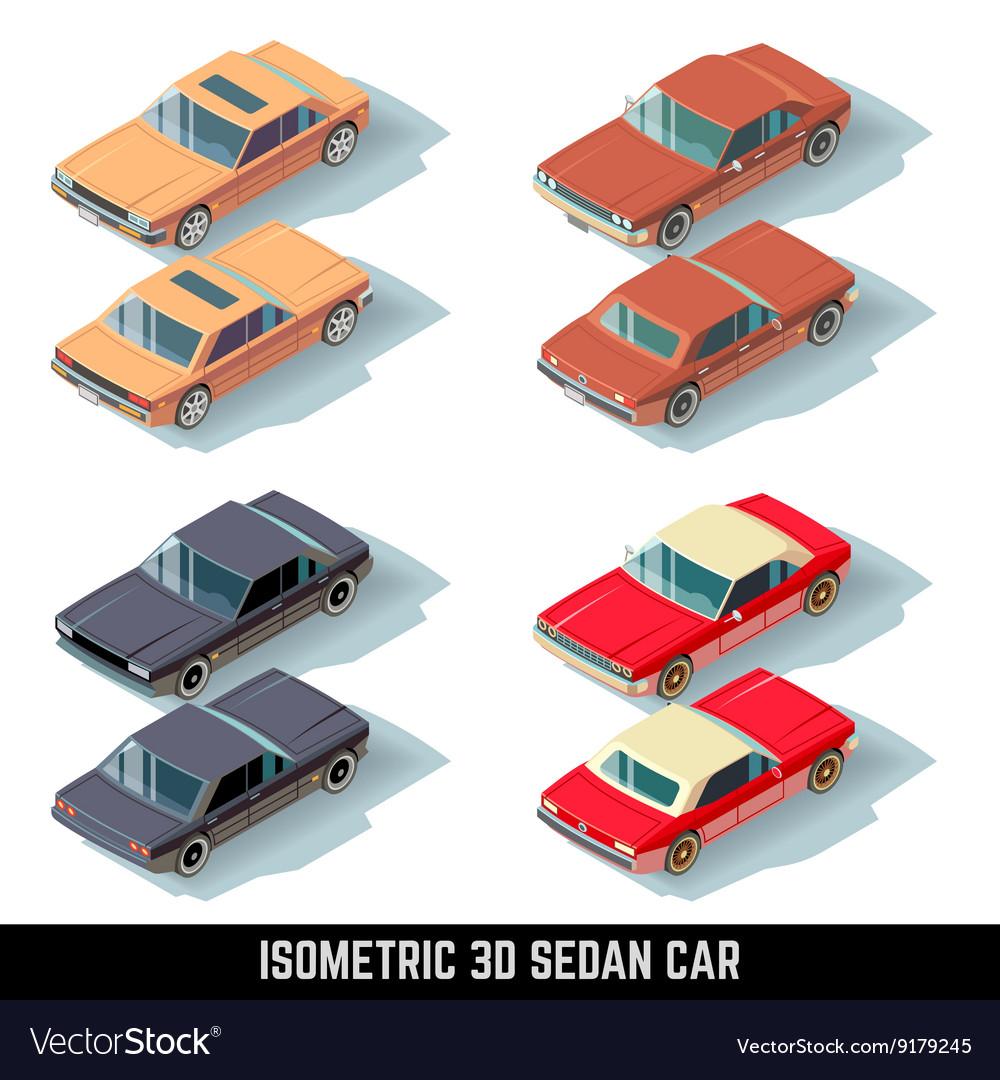 Isometric 3D sedan car city transport