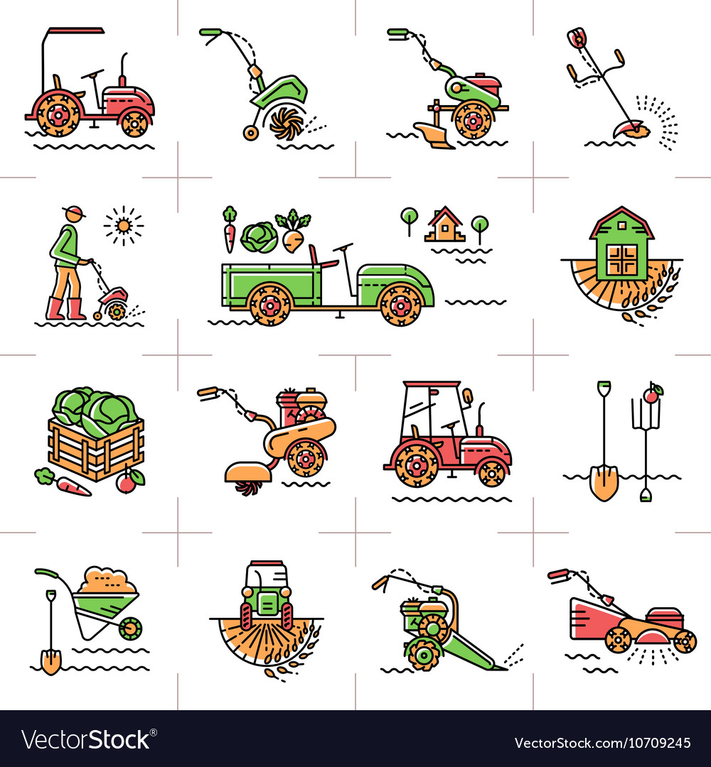 Line icons art agriculture agricultural machinery vector image