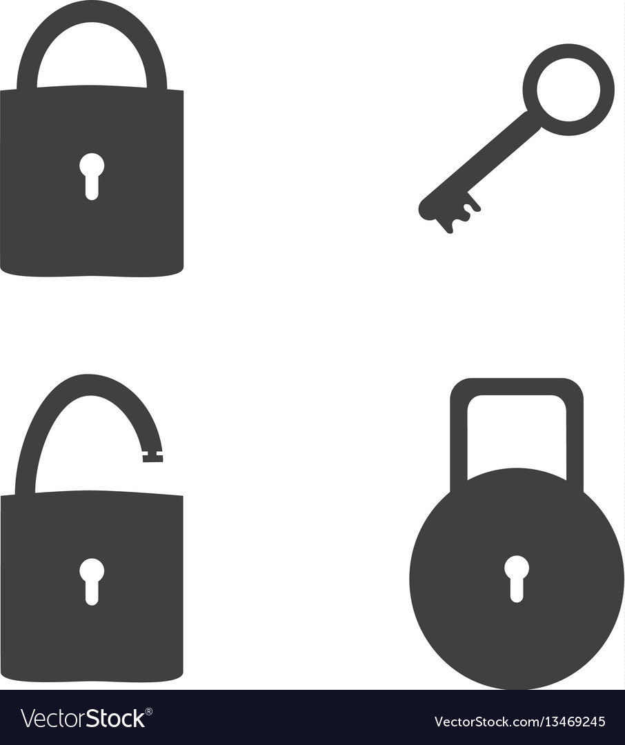 Lock and key sign icon set security concept