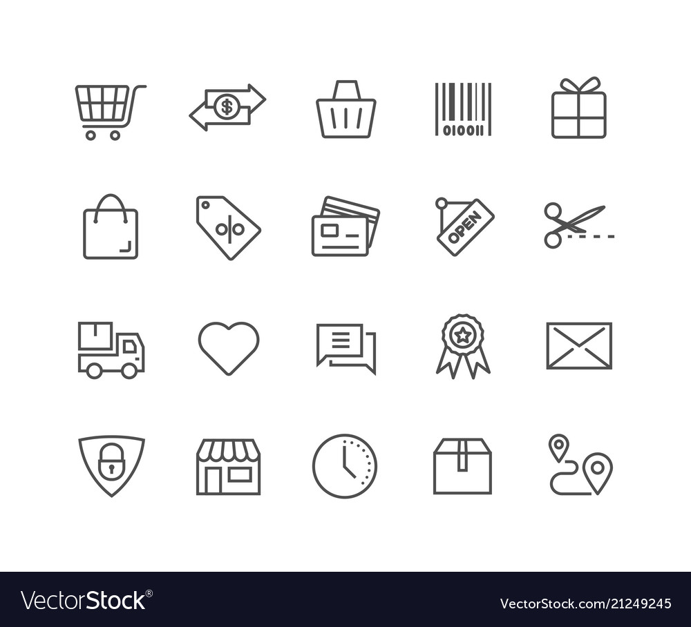 Simple set shopping online thin line icons