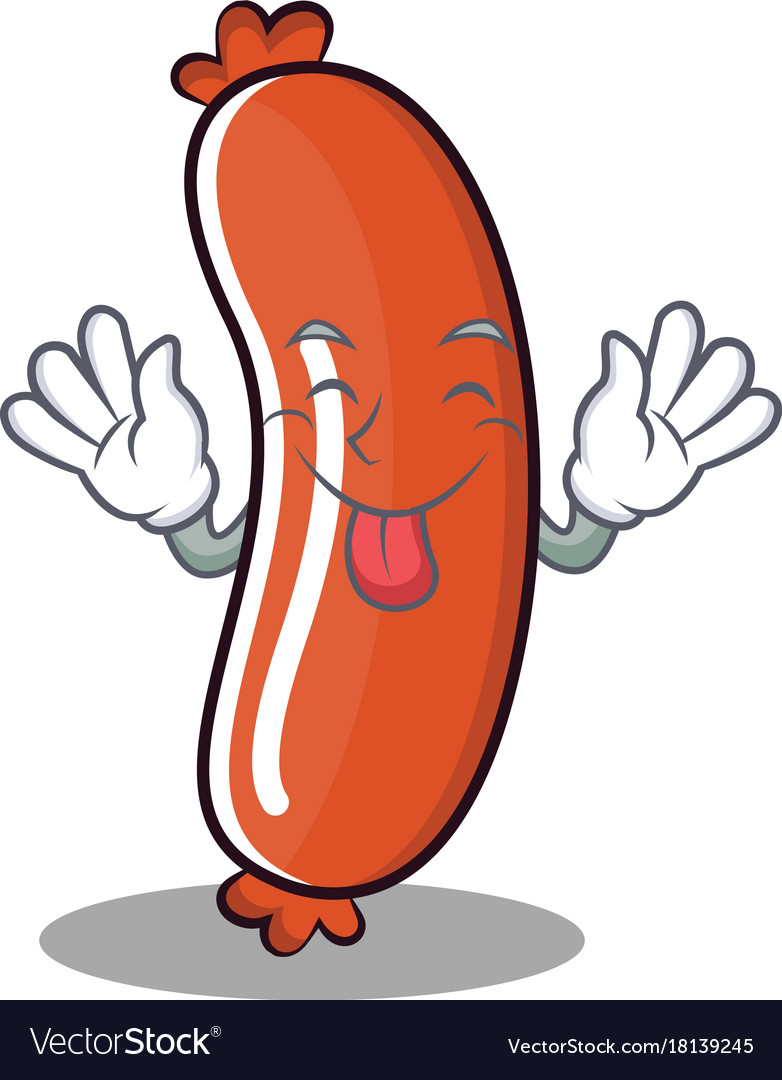 Tongue out sausage character cartoon style