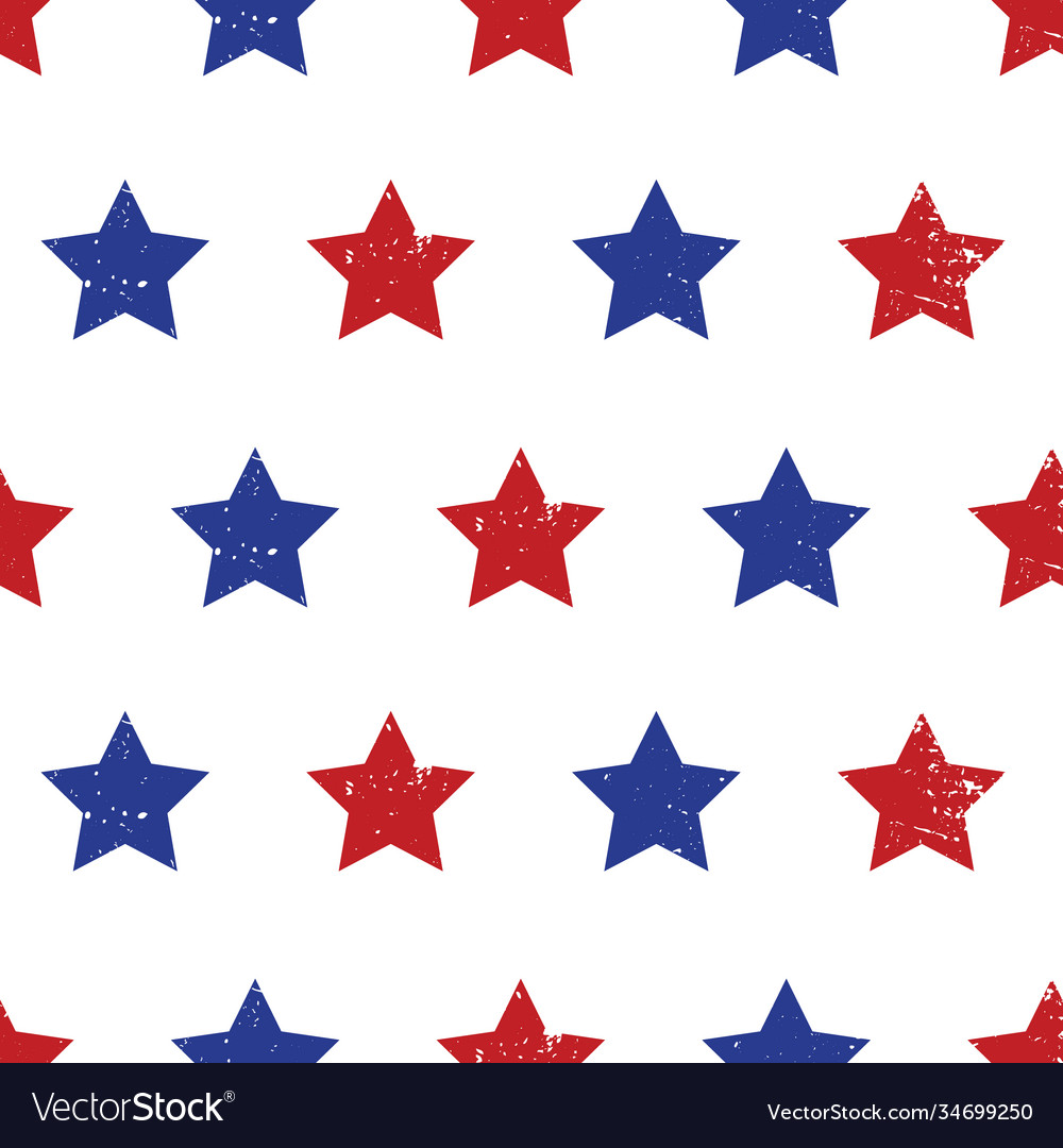 Blue red stars seamless background