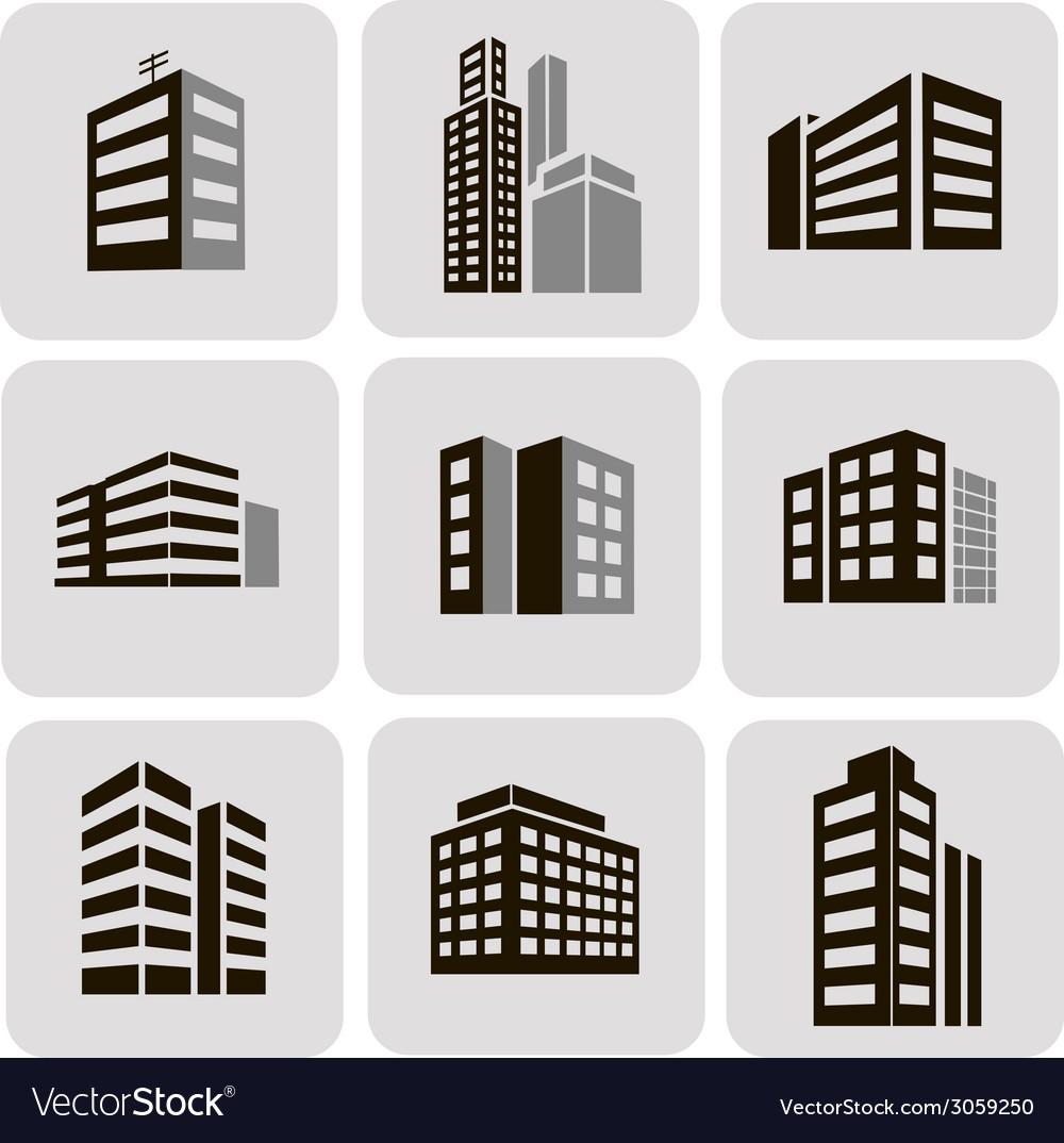 Buildings web sticker icons set vector image