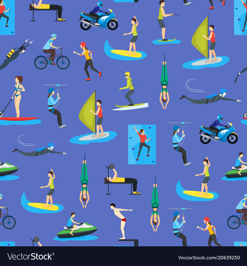 Cartoon extreme sports people seamless pattern