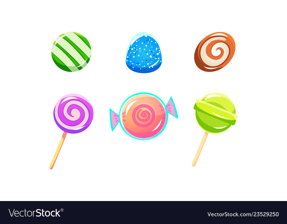 Colorful glossy candies and lollipops set sweets
