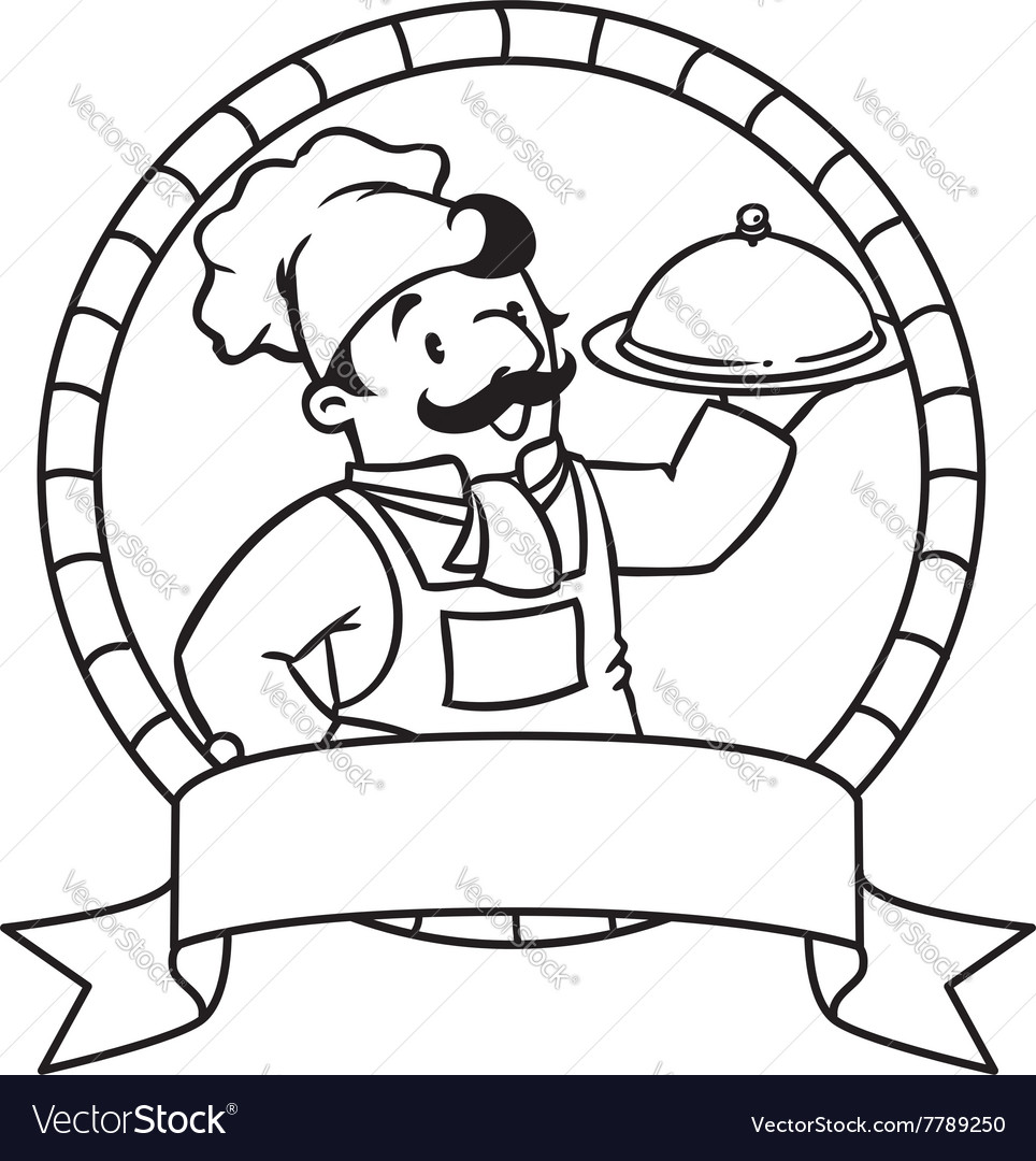 Funny Cook Or Chef Coloring Book Emblem Vector Image
