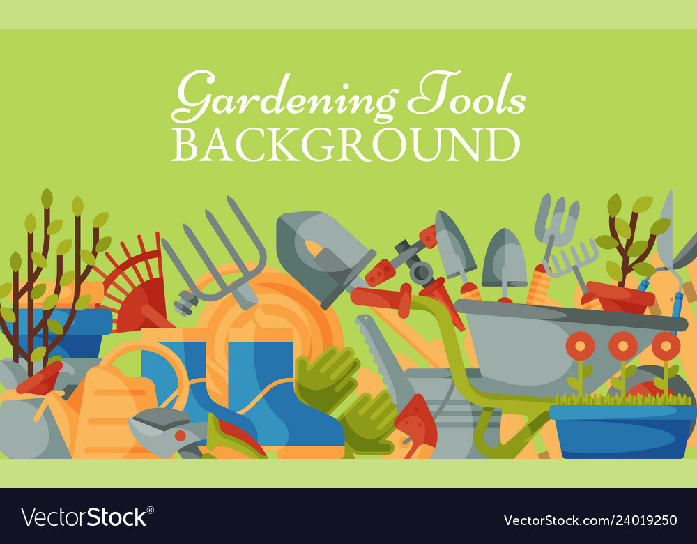 Garden Tools Background Banner Royalty Free Vector Image