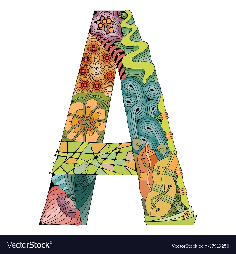 Decorative Letter A.Letter A Zentangle Decorative Object