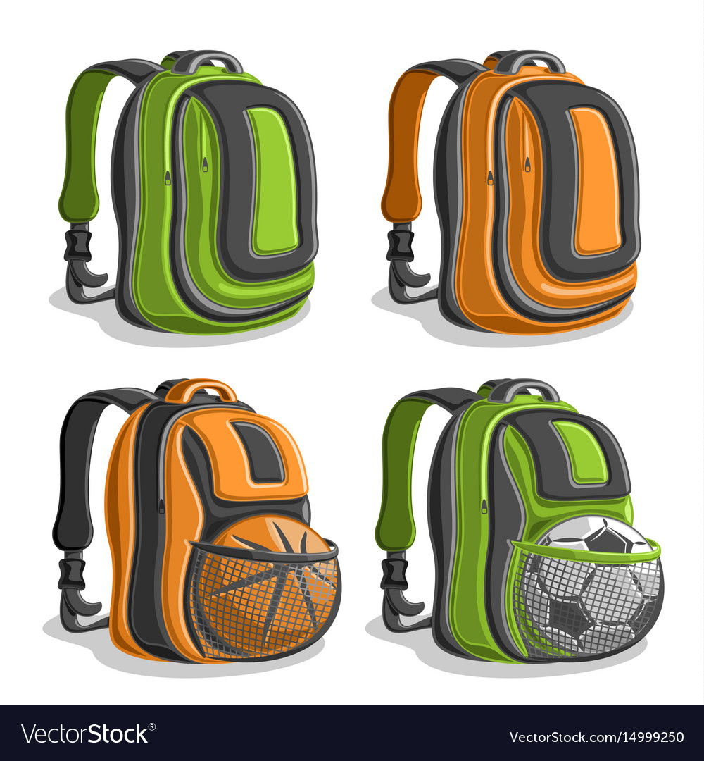 54a8579a0ca5 Set icons sports backpacks Royalty Free Vector Image