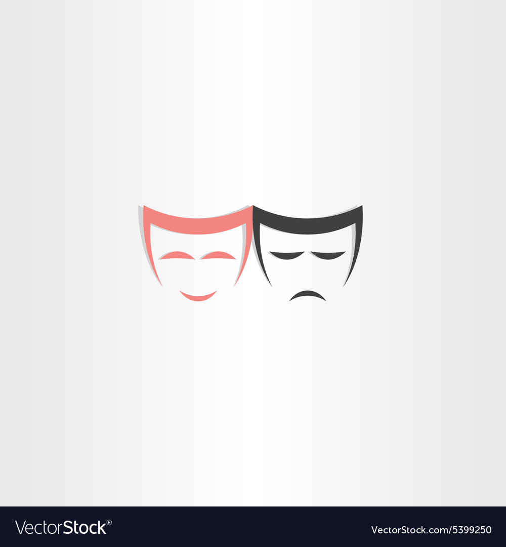 Theater symbol happy and sad masks icon vector image