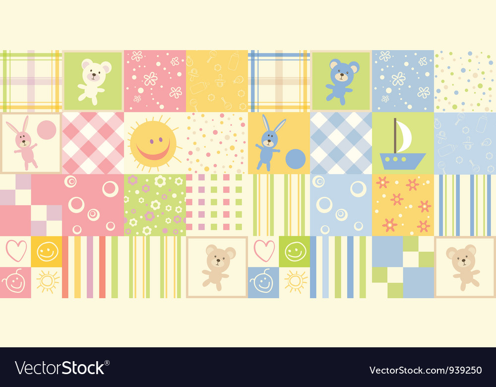 Two baby seamless vector image
