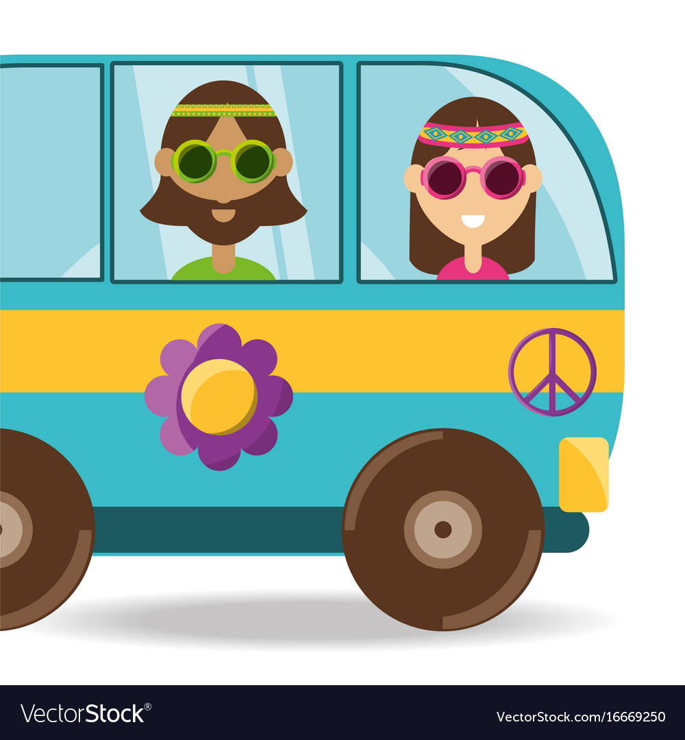 Van with flower and hippie people concept