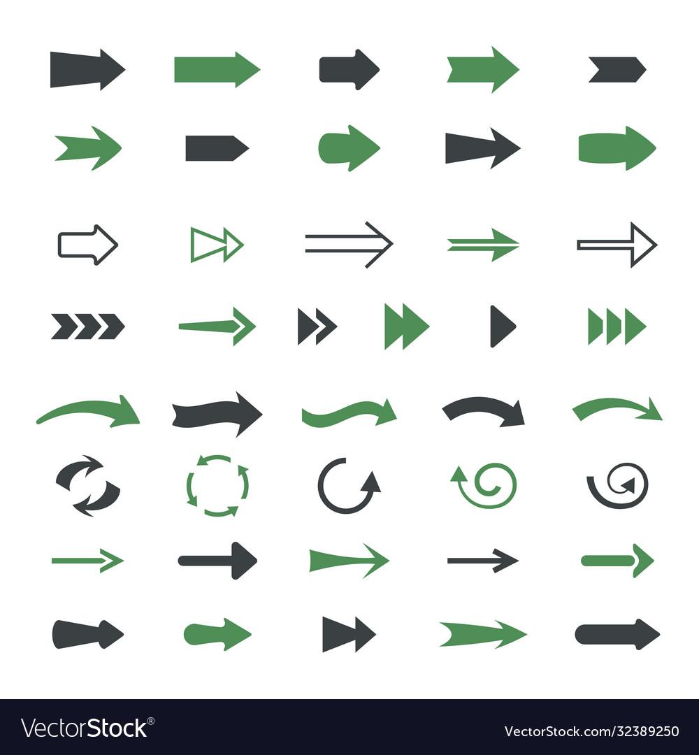 Varieties arrows set variety black green