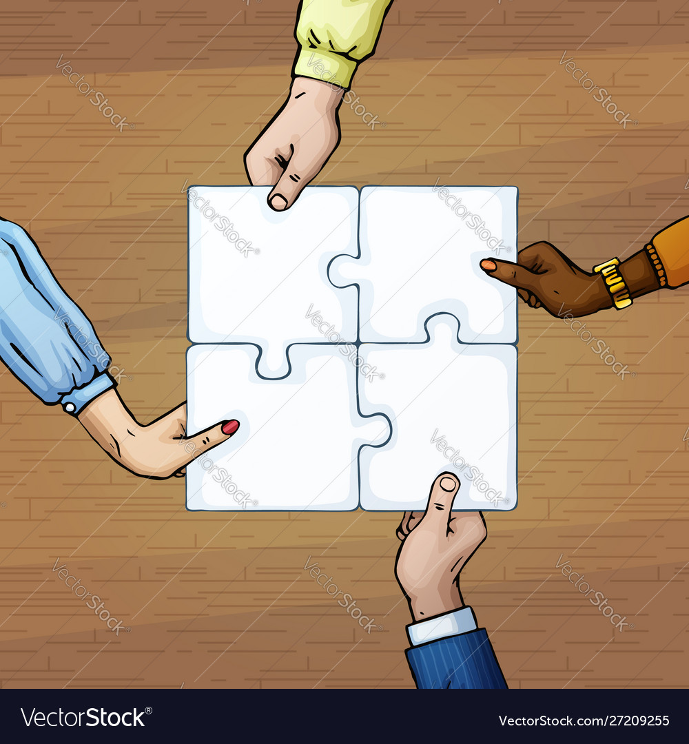 4 persons hands holding puzzle pieces team work