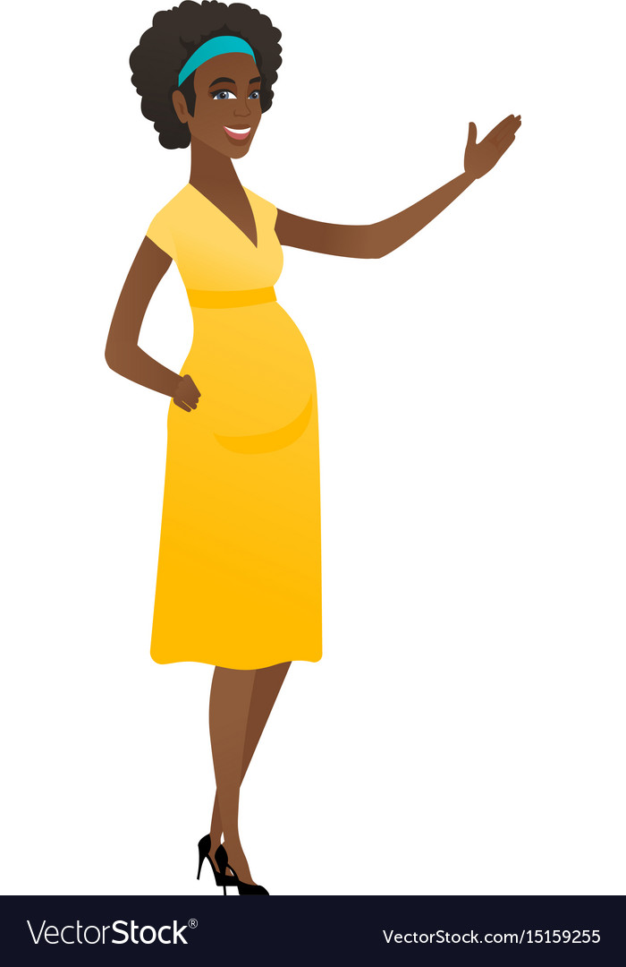 African pregnant woman showing a direction vector image
