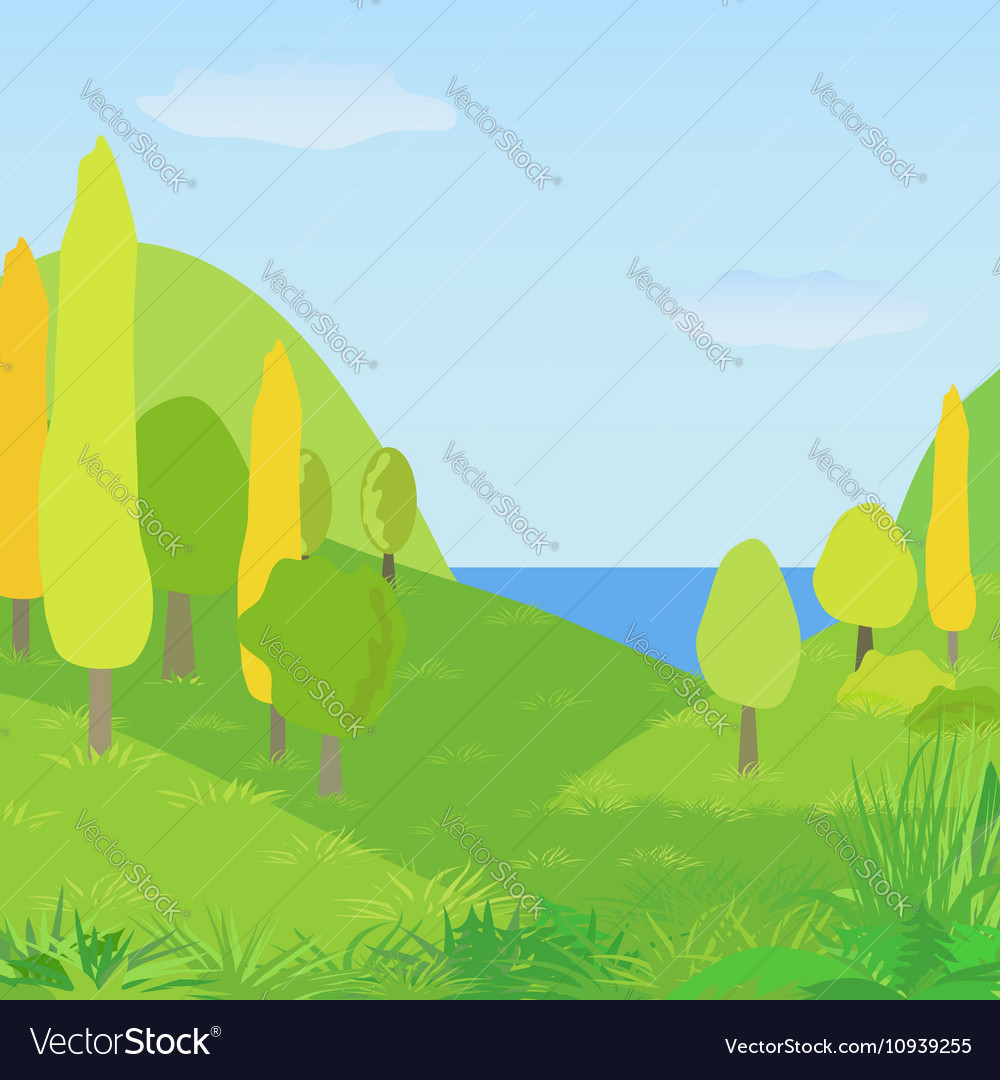 Autumn landscape with hills trees and river vector image