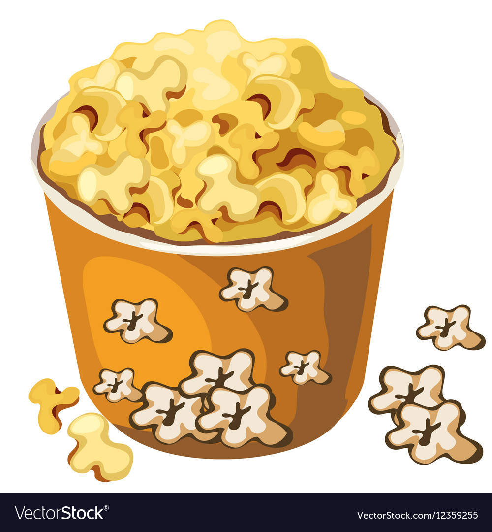 Cardboard popcorn bucket food isolated vector image